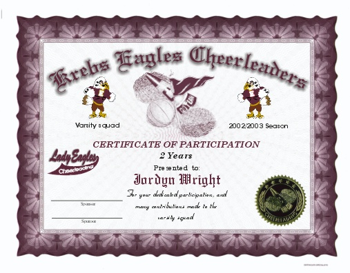 Full color cheerleading certificates for Cheerleader award certificates
