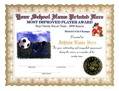Soccer Certificates