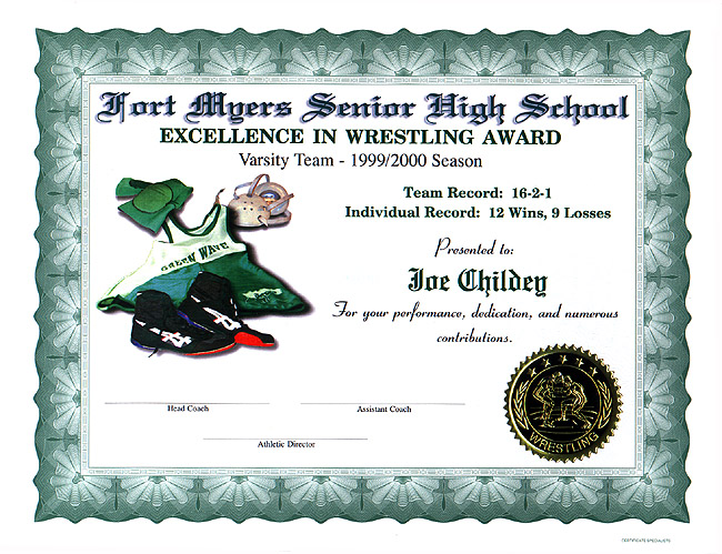 Wrestling certificates full color customized certificate wrestling fmhs school singlet full color yadclub Gallery