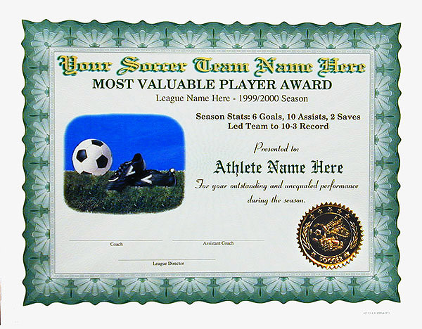 certificates for clubs  leagues  etc