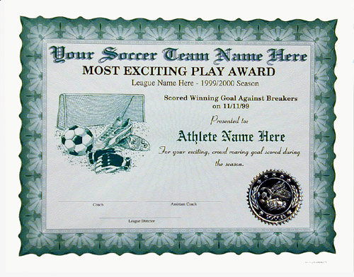 Certificates For Clubs, Leagues, Etc.