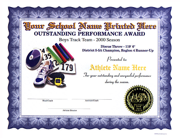 High school certificates for Cross country certificate templates free