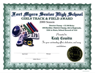 Track field certificates jpg 164450 bytes certificate with green border yelopaper Gallery