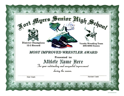 Wrestling Certificates - Full Color Customized